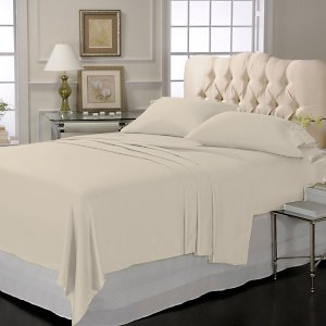 LUXURY SOLID SHEET SET 100% EGYPTIAN COTTON QUEEN 1000 TC SATIN IVORY
