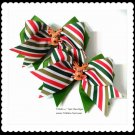 "Girls Christmas Reindeer Double Layer 4"" Horse Show Hair Bows Tickles n' Toes Boutique"