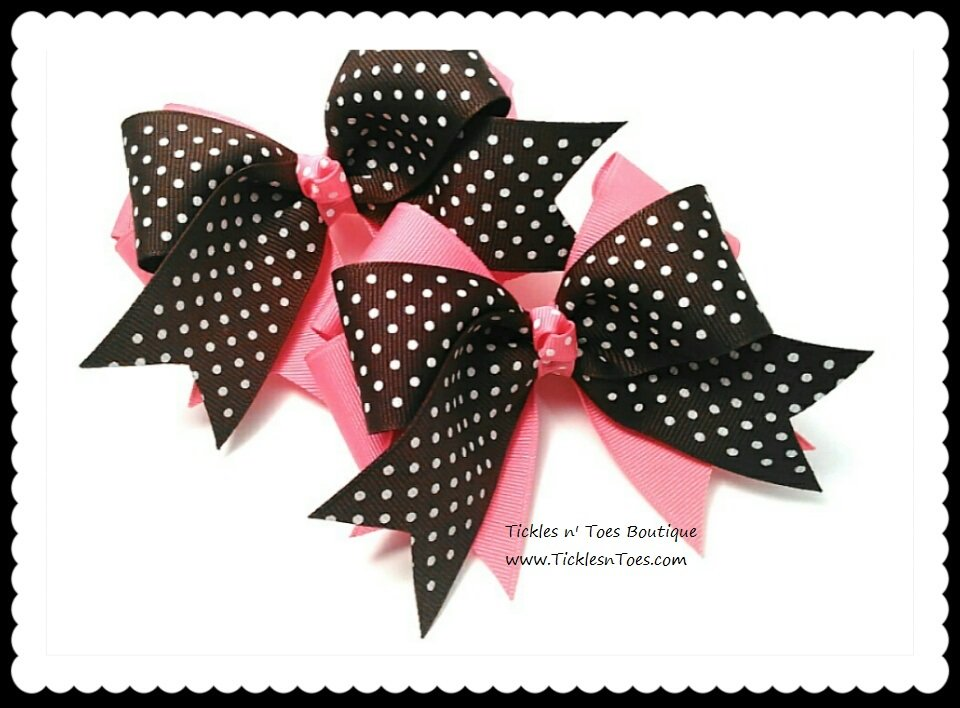 Girls Hot Pink & Brown Double Layer Horse Show Hair Bows Tickles n' Toes Boutique