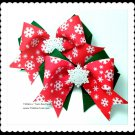 Christmas Snowflake Girls Red Green Double Layer Horse Show Hair Bows Tickles n' Toes Boutique