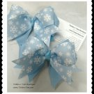 WINTER SNOWFLAKES Girls Light Blue Double Layer Horse Show Hair Bows Tickles n' Toes Boutique