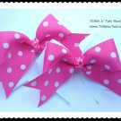 Girls Hot Pink White Double Layer Horse Show Hair Bows Tickles n' Toes Boutique