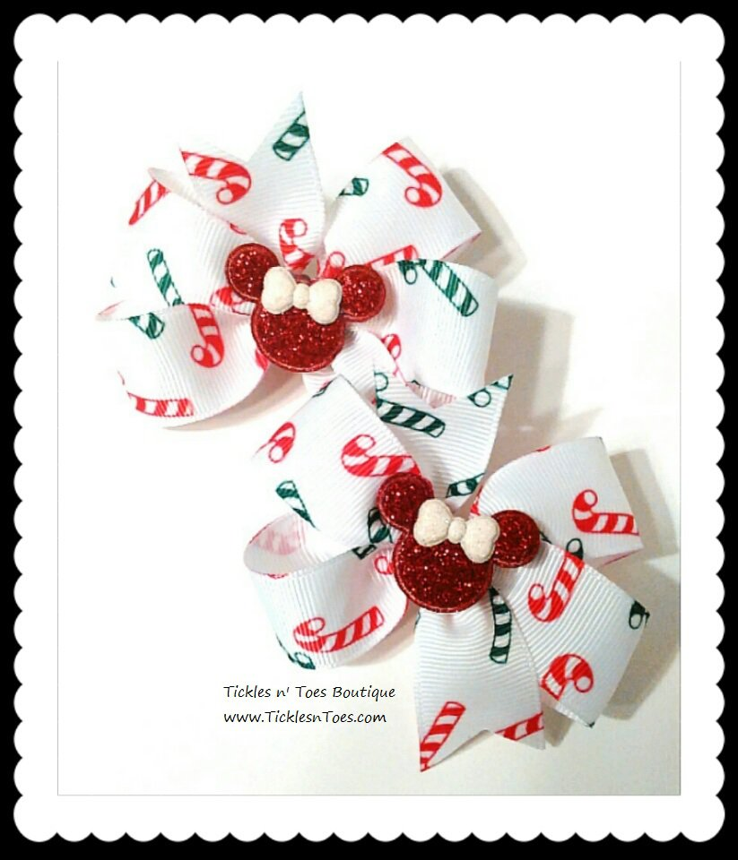 CHRISTMAS MINNIE MOUSE CANDY CANES Toddler Girls Red White Hair Bows Tickles n' Toes Boutique