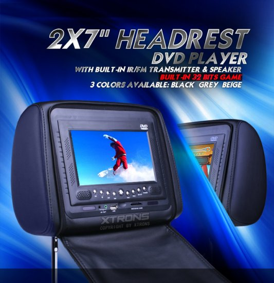 "2x7"" IR/ FM Transmitter Headrest DVD Players"
