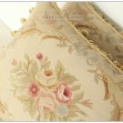A PAIR! Pastel Beige Cream Pink Aubusson Pillow French Home Decorative Cushion