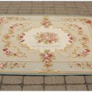 4X6 LIGHT BLUE CREAM French Aubusson Area Rug SHABBY PINK CHIC ROSES Wool Woven