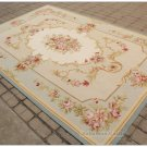 5X8 LIGHT BLUE CREAM French Aubusson Rug SHABBY PINK CHIC Wool Ivory Carpet NEW