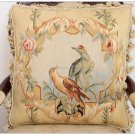 18x18 PARROT BIRDS II Aubusson Pillow WOOL French Bed Sofa Chair Couch Bench Cushion