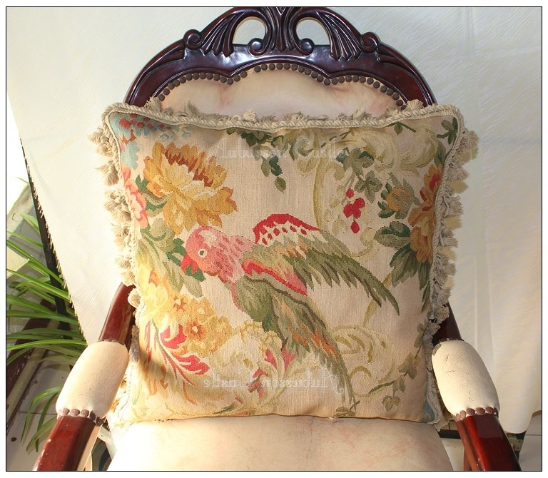 """WILDLIFE � PARROT Aubusson Tapestry Pillow 20"""" WOOL BIG Cushion Cover FREE SHIP!"""
