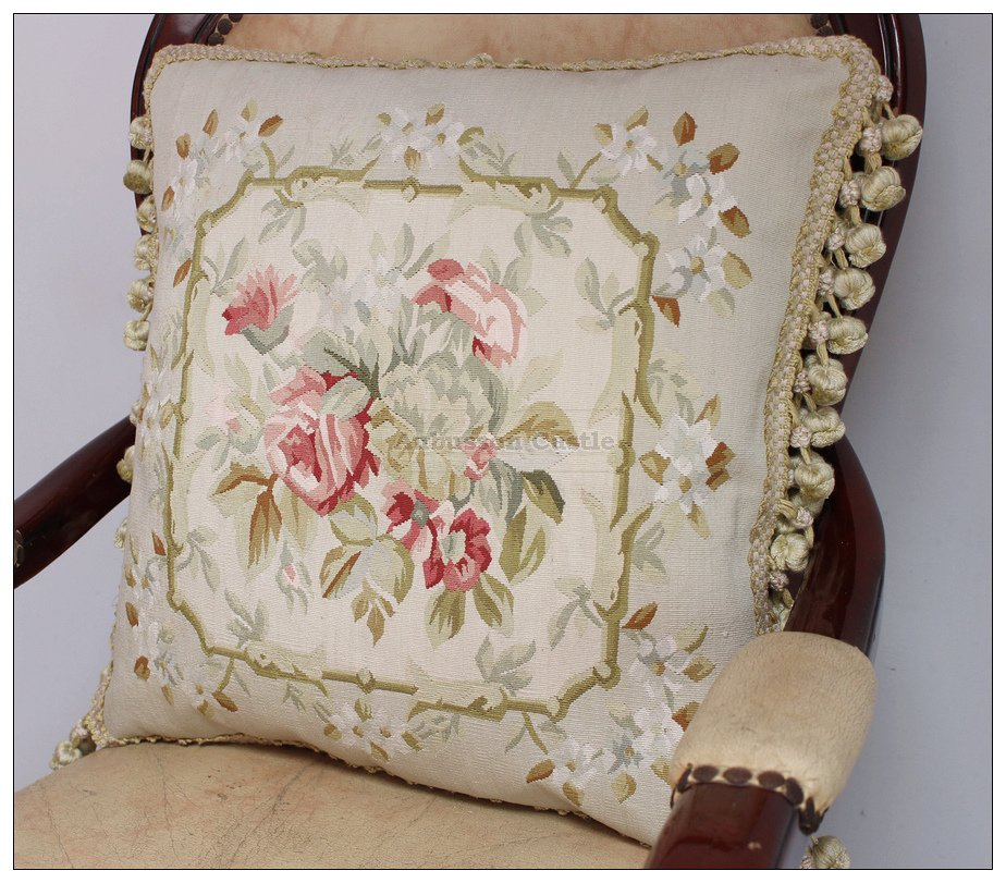 """18"""" SILK Woven Aubusson Rose Pillow Cottage French Decor Pastel Green Pink Ivory"""
