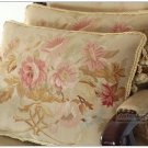 A Pair SHABBY PINK CHIC Aubusson Pillow French Home Decor WOOL WOVEN Cushion