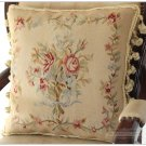 RIBBON ROSE BOUQUET Aubusson Tapestry Pillow Cushion Vintage French Home Decor