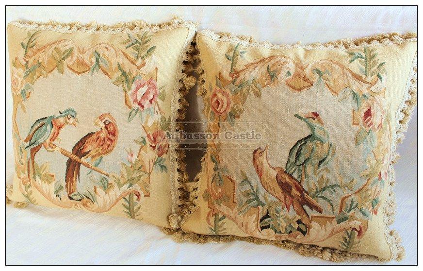 "A PAIR! Vintage French Aubusson Pillow PARROT BIRDS Wool Decorative Cushion 18"""