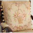 PAIR!  Soft Muted Beige Pink Aubusson Pillow French Home Bed Sofa Chair Cushion