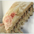 "BLUE PINK Aubusson Pillow ANTIQUE DECOR TRIM Velvet Back Cushion 12"" FREE SHIP!"