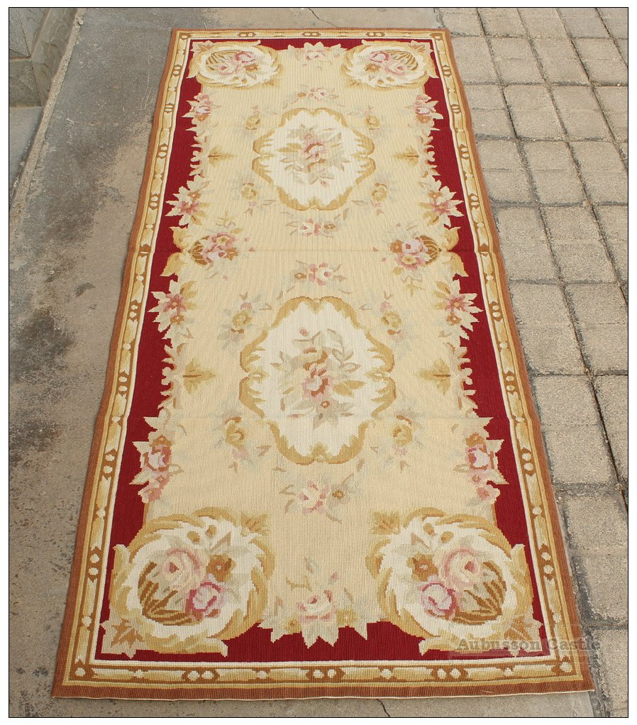8' / 244cm Runner Rug Aubusson Needlepoint Vintage French Home Decor Wool Carpet