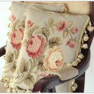 A PAIR! Aubusson Pillow BLUE PINK Shabby French Chic Bed Chair Sofa Cushion16X12