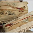 "A MATCHING PAIR! 22"" PHEASANT Aubusson Tapestry Pillow Cover Vintage French Wool"