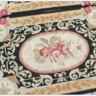 2'X3' Wool Chic NEEDLEPOINT Rug GOLD BLACK Country French Home Aubusson Pattern