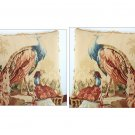 A pair! PEACOCK Aubusson Tapestry Throw Pillow WOOL WOVEN Big Decorative Cushion