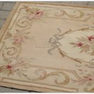 3X5 Aubusson Area Rug - ANTIQUE FRENCH PASTEL Wool Handmade Flat Weave Carpet