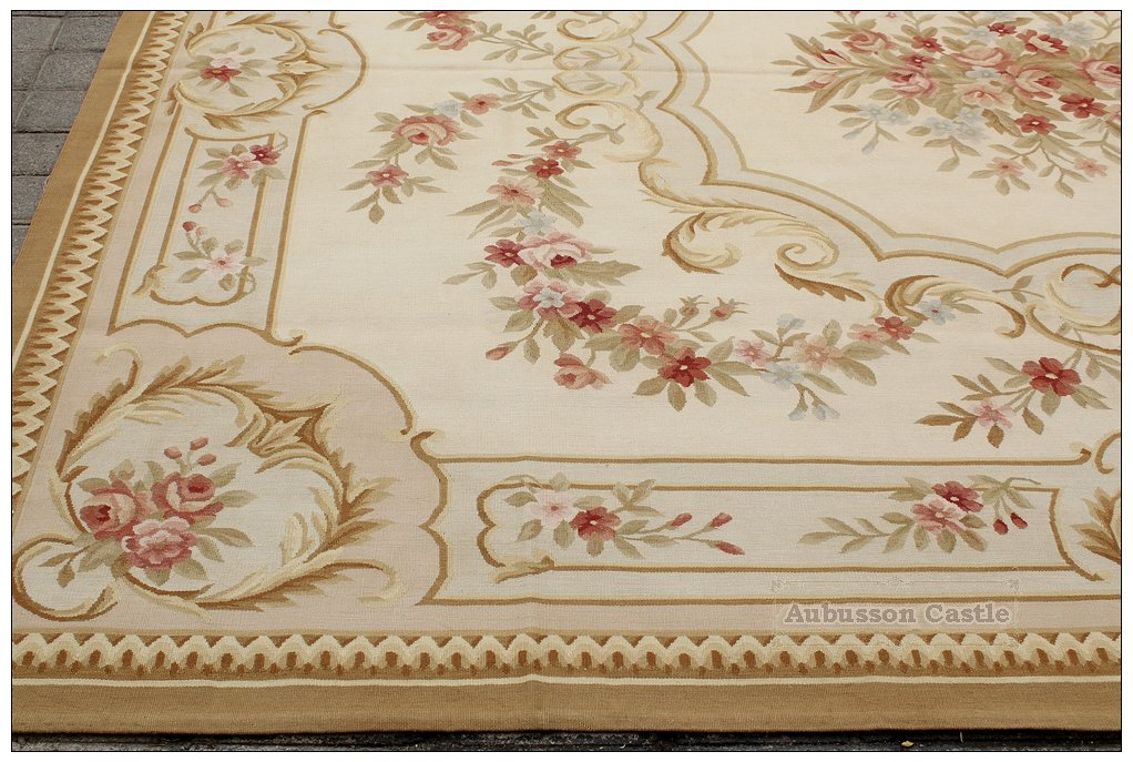 8'X10' SHABBY FRENCH CHIC Aubusson Area Rug COUNTRY HOME DECOR Wool Floor Carpet