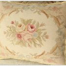 18x14 Pastel Beige Cream Pink Aubusson Rose Pillow Shabby French Chic Sofa Chair Cover