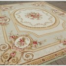 9x12 SHABBY FRENCH CHIC Aubusson Area Rug SUBTLE GREEN IVORY w PINK ROSE Wool Carpet