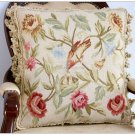 18x18 Chic Bird French Aubusson Pillow WOOL Chair Bed Sofa Bench Settee Stool Cushion