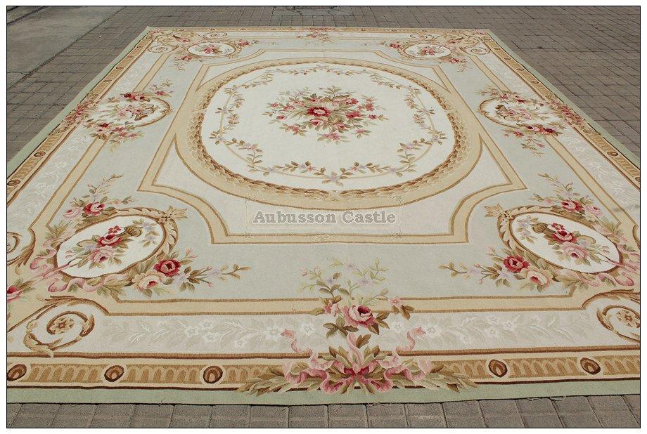10X14 PASTEL LIGHT GREEN IVORY Aubusson Area Rug French Shabby Chic Floor Carpet