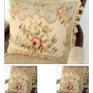 Set 3! Shabby French Chic Aubusson Cottage Pillow BLUE CREAM Wool Cushion Cover