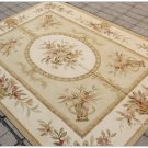 "150X200CM / 5'X6'7"" Aubusson Area Rug PASTEL GOLD IVORY Wool French Style Carpet"