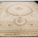 HANDWOVEN 12X15 Aubusson Rug COUNTRY FRENCH PASTEL Beige Cream Carpet OVERSIZE