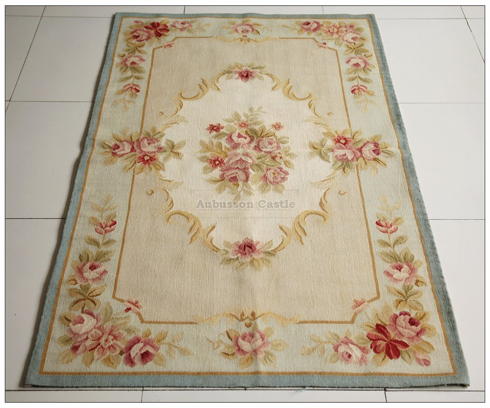 3X5 LIGHT BLUE CREAM French Aubusson Area Rug SHABBY PINK CHIC ROSES Wool Woven