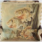 A PAIR! Aubusson Tapestry Throw Pillow ANTIQUE DECOR SEA FISH Cushion FREE SHIP!