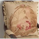 ANGEL Vintage French Aubusson Tapestry Throw Pillow WOOL Big Decorative Cushion