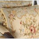 A PAIR! Aubusson Pillow BLUE CREAM Decorative Bed Sofa Chair Cushion FREE SHIP!