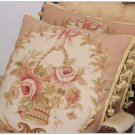 "PAIR! 18"" SHABBY PINK CHIC Wool Aubusson Cottage Pillow Cushion Velvet BIG SIZE"