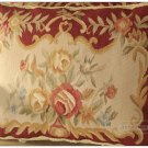 18x14 Shabby French Chic Aubusson Pillow Sofa Chair Cushion RED CREAM