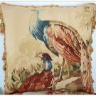PEACOCK Aubusson Tapestry Throw Pillow WOOL WOVEN Big Decorative Cushion $700