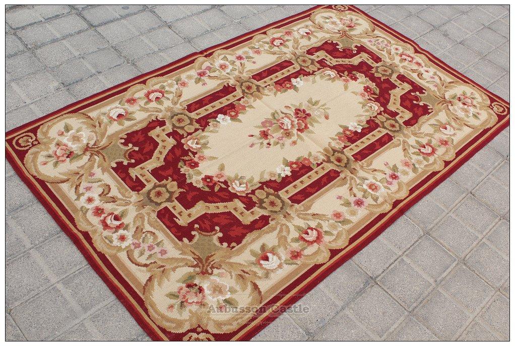 Shabby French Chic 3X5 Needlepoint Rug Aubusson Decor Carpet BURGUNDY PINK IVORY