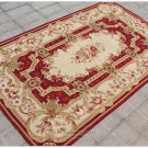 Shabby French Chic 3X5 Needlepoint Rug Aubusson Decor Carpet BURGUNDY PINK IVORY
