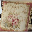 PINK ROSE BOUQUET Decorative Aubusson Pillow CHIC FRENCH WOOL Chair Sofa Cushion