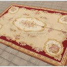 SHABBY ROSE CHIC 4x6 Aubusson Needlepoint Rug RED CREAM BEIGE French Rose Carpet