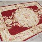 4X6 Shabby French Chic Aubusson Needlepoint Area Rug BURGUNDY IVORY PINK Carpet