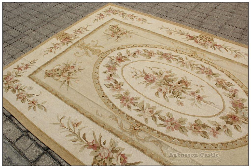 6'7X10 SHABBY ROSE CHIC Handwoven Aubusson Rug Wool Floor Carpet SOFT GOLD CREAM