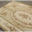 6'7X10 SHABBY ROSE CHIC Handwoven Aubusson Rug Wool Floor Carpet SOFT GOLD CREAM