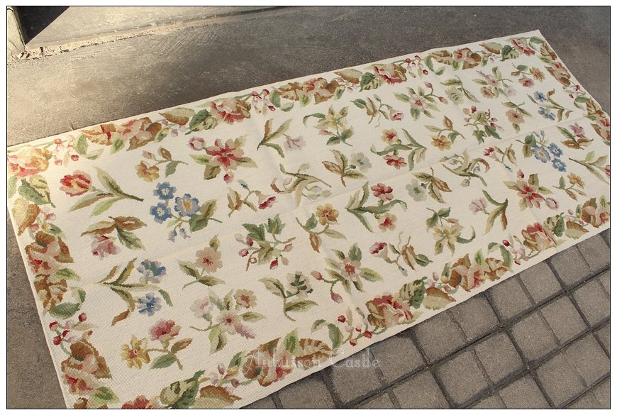 6' Runner SHABBY WHITE CHIC Aubusson Needlepoint Rug French Home Decor Carpet