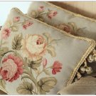 FREE SHIP! Aubusson Pillow BLUE PINK Shabby French Chic Rose Cushion Cover 16X12