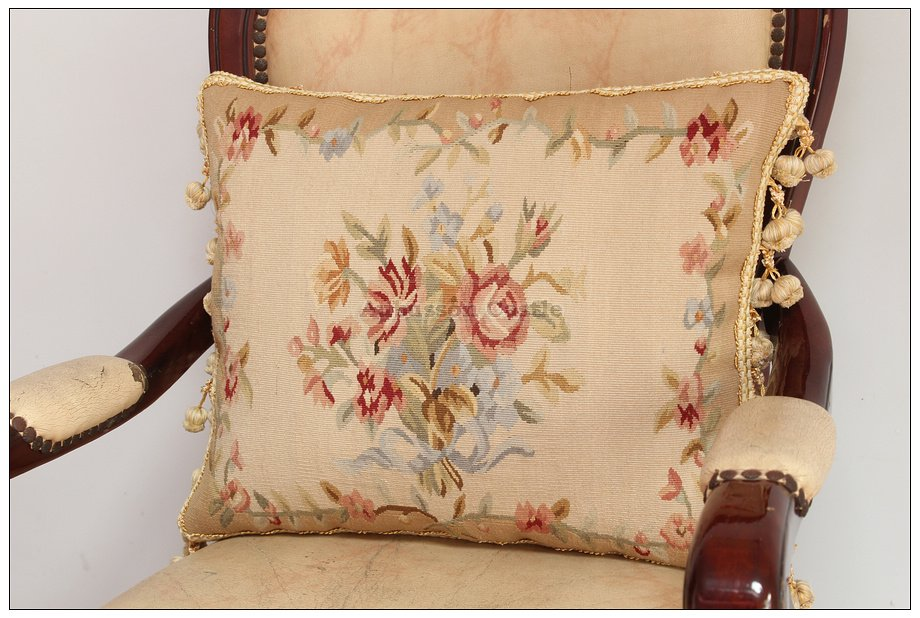 A PAIR Aubusson Pillow RIBBON ROSE BOUQUET Vintage French Home Wool Cushion NEW